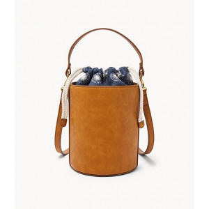 FOSSIL Courtney Bucket Bag (BLUE/WHITE)