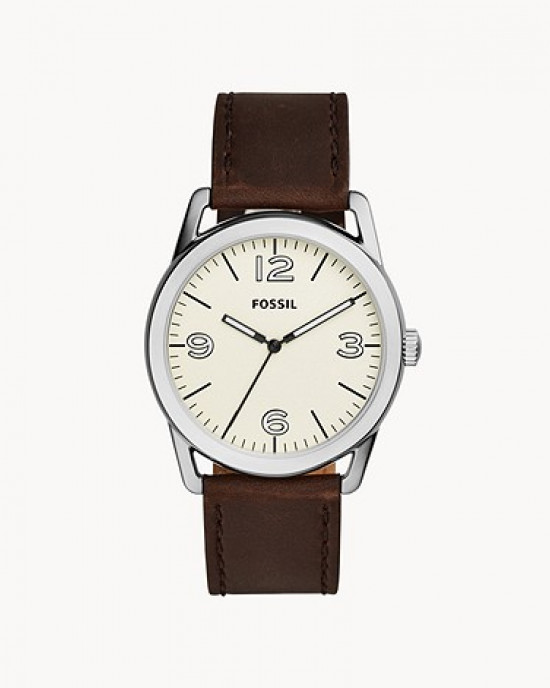 FOSSIL LEDGER THREE HAND BROWN LEATHER WATCH (BQ2303)