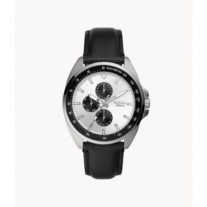 FOSSIL Autocross Multifunction Black Leather Watch (BQ2556)