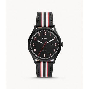 FOSSIL Forrester Three-Hand Date Striped Black Leather Watch (FS5591)