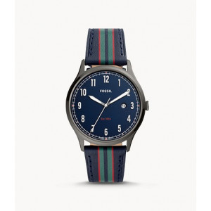FOSSIL Forrester Three-Hand Date Striped Navy Leather Watch (FS5592)