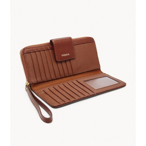 FOSSIL Madison Zip Clutch (BROWN)