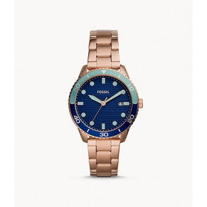 FOSSIL Dayle Three-Hand Date Rose Gold-Tone Stainless Steel Watch (BQ3599)