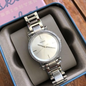 FOSSIL CARLIE THREE HAND STAINLESS STEEL WATCH