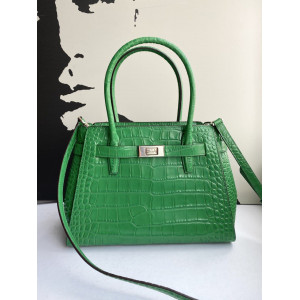 KATE SPADE LUCIA CROCODILE EMBOSSED MEDIUM SATCHEL (GREEN BEAN)