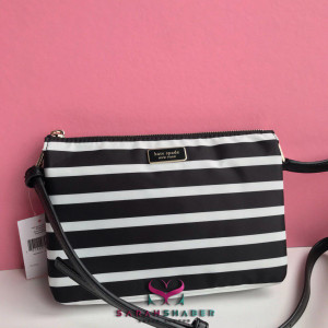 KATE SPADE DAWN SAILING STRIPE TRIPLE GUSSET CROSSBODY (BLACK MULTI)