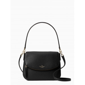 KATE SPADE JACKSON MEDIUM FLAP SHOULDER BAG (BLACK)