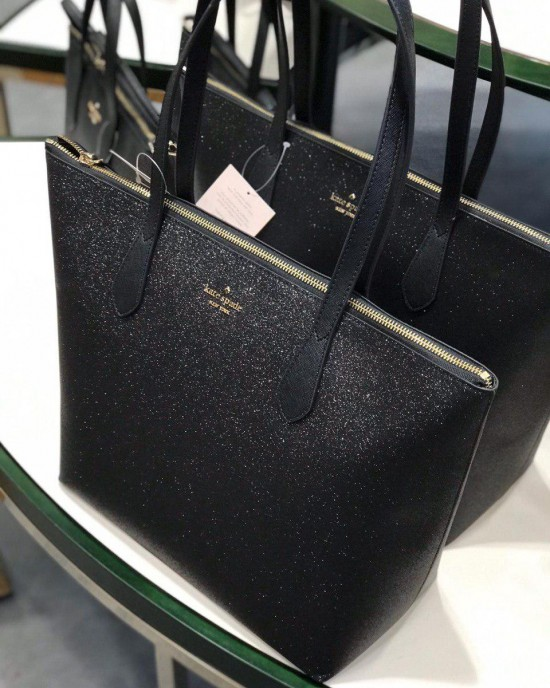 KATE SPADE JOELEY GLITTER LARGE TOP ZIP TOTE (BLACK)