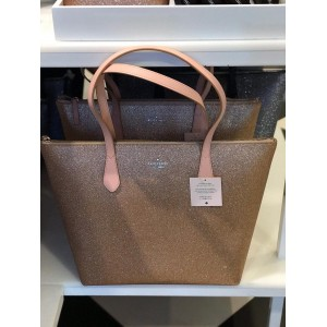 KATE SPADE JOELEY GLITTER LARGE TOP ZIP TOTE (ROSE GOLD)