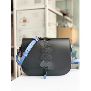 KATE SPADE NADINE WOVEN SPADE MEDIUM FLAP SHOULDER BAG (BLACK)