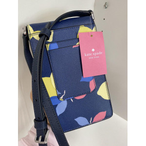KATE SPADE MONOTONE NORTH SOUTH FLAP PHONE CROSSBODY (RIVERBLUE MULTI)