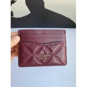 KATE SPADE NATALIA SMALL SLIM CARD HOLDER (CHERRY WOOD)