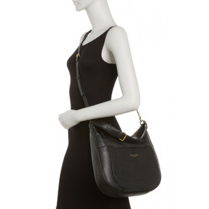 MARC JACOBS EMPIRE CITY LEATHER HOBO CROSSBODY (BLACK)
