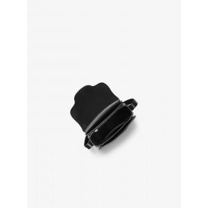 MICHAEL KORS CARY SMALL LEATHER SADDLE BAG (BLACK)