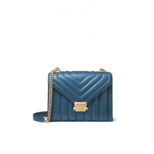 MICHAEL KORS WHITNEY LARGE QUILTED LEATHER CONVERTIBLE SHOULDER BAG (DARK CHAMBRAY)