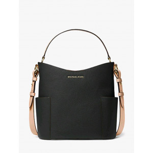 MICHAEL KORS BEDFORD MD LEATHER BUCKET SHOULDER (BLACK)