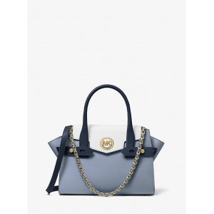 MICHAEL KOR CARMEN SMALL FLAP BRLTED SATCHEL LEATHER (NAVY/WHITE/PBLUE)
