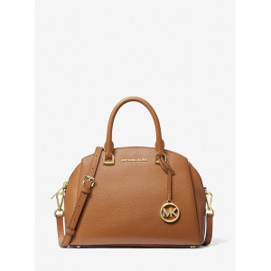 MICHAEL KORS MAXINE MEDIUM PEBBLED LEATHER DOME SATCHEL (LUGGAGE)