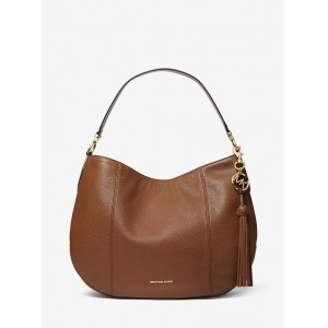MICHAEL KORS BROOKE LARGE PEBBLED LEATHER SHOULDER BAG (LUGGAGE)