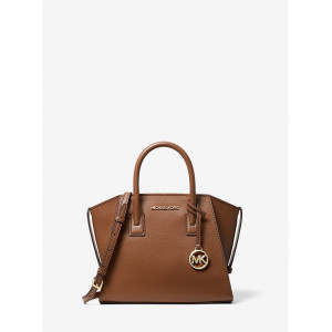 MICHAEL KORS AVRIL SMALL LEATHER TOP ZIP SATCHEL (LUGGAGE)