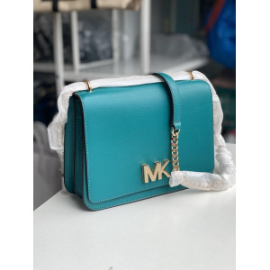 MICHAEL KORS MOTT LARGE CHAIN SHOULDER LEATHER (AQUA)