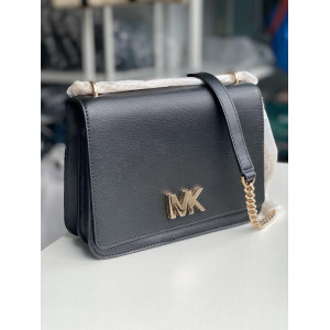 MICHAEL KORS MOTT LARGE CHAIN SHOULDER LEATHER (BLACK)