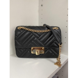 MICHAEL KORS PEYTON MD SHOULDER FLAP (BLACK)