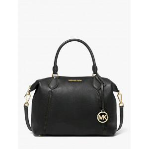 MICHAEL KORS LENOX LG PEBBLED LEATHER SATCHEL (BLACK)