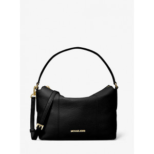MICHAEL KORS BROOKE MEDIUM PEBBLED LEATHER SHOULDER BAG (BLACK)