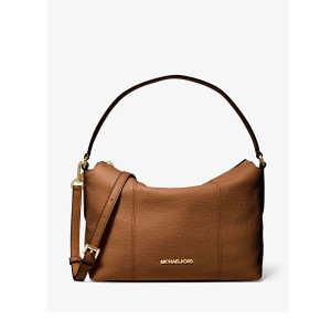 MICHAEL KORS BROOKE MEDIUM PEBBLED LEATHER SHOULDER BAG (LUGGAGE)