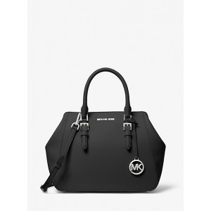MICHAEL KORS CHARLOTTE LARGE SATCHEL (BLACK)
