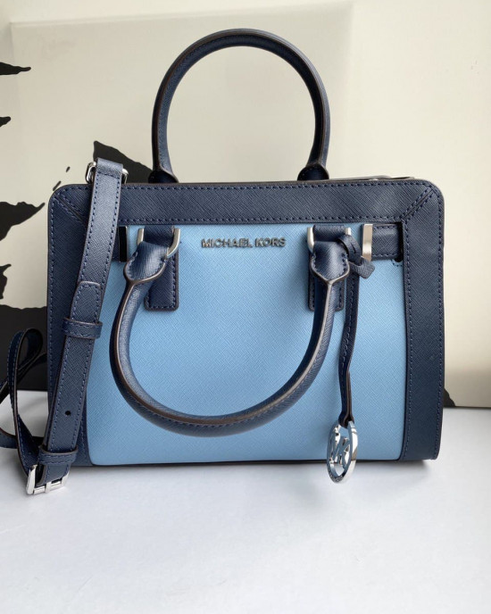 MICHAEL KORS DILLON TZ SM SATCHEL (SKY/NAVY)  - AS IS CLEARANCE (NOT FOR FUSSY BUYER)