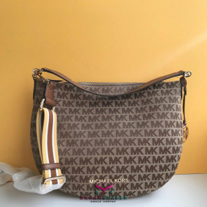 MICHAEL KORS BEDFORD MEDIUM CRESCENT SHOULDER (BG/EBONY)