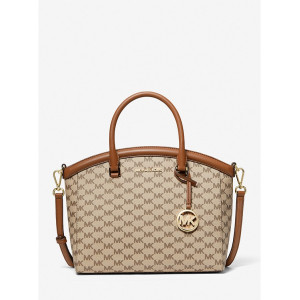 MICHAEL KORS YARA LARGE LOGO SATCHEL (NATURAL/LUGGAGE)