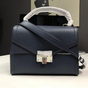 MICHAEL KORS KINSLEY LARGE LEATHER TH SATCHEL (NAVY)