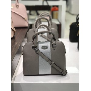 MICHAEL KORS MET CENTER STRIPE CINDY SMALL DOME SATCHEL (PEARL GREY/SILVER)