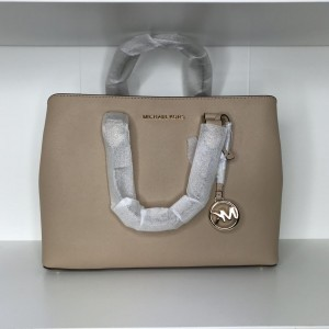 MICHAEL KORS SAVANNAH LARGE LEATHER SATCHEL (BISQUE)
