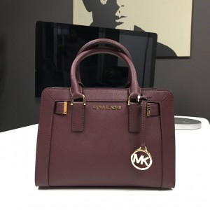 MICHAEL MICHAEL KORS DILLON SMALL TOP ZIP SATCHEL (MERLOT)