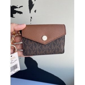 MICHAEL KORS KALA SMALL FLAP KEY RING CARD CASE (BROWN)