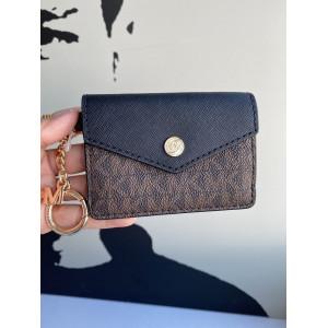MICHAEL KORS KALA SMALL FLAP KEY RING CARD CASE (BROWN/BLACK)