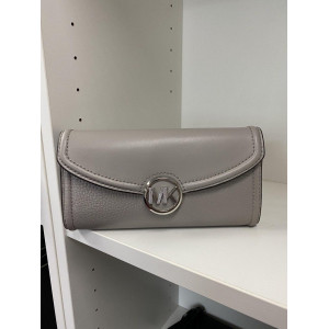 MICHAEL KORS FULTON LG FLAP CONTINENTAL WALLET (GREY)