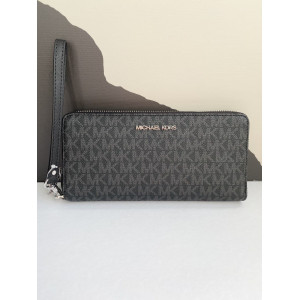 MICHAEL KORS JET SET TRAVEL CONTINENTAL WALLET IN SIGNATURE (BLACK)