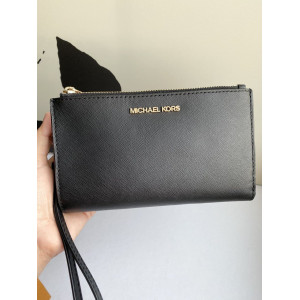 MICHAEL KORS JET SET TRAVEL DOUBLE ZIP WRISLET (BLACK)