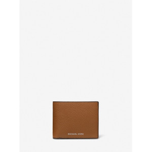 MICHAEL KORS COOPER PEBBELED LEATHER BILLFOLD WALLET WITH PASSCASE (LUGGAGE)