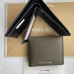 MICHAEL KORS COOPER PEBBELED LEATHER BILLFOLD WALLET WITH PASSCASE (OLIVE)