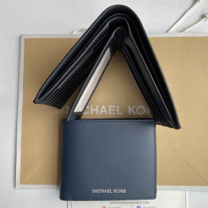 MICHAEL KORS COOPER LEATHER BILLFOLD WALLET WITH PASSCASE (NAVY)